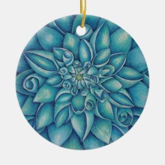 Ornement Rond En Céramique Dahlia bleu
