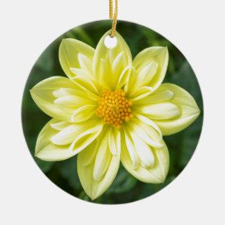 Ornement Rond En Céramique Dahlia jaune