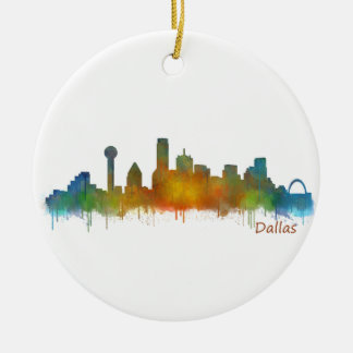 Ornement Rond En Céramique Dallas Texas Ville Watercolor Skyline Hq v2