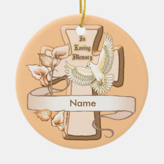 Ornement Rond En Céramique Dans la croix de mémoire