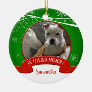 Ornement Rond En Céramique Dans Noël vert rouge de mémoire de photo