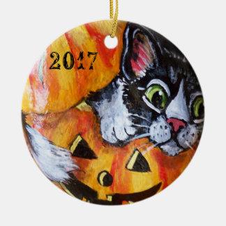 Ornement Rond En Céramique Date d'ornement de Halloween de chat noir et de