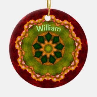 Ornement Rond En Céramique ~ de fractale de fleur de Noël personnalisé par ~