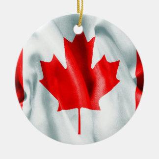 Ornement rond en céramique de Noël de drapeau du