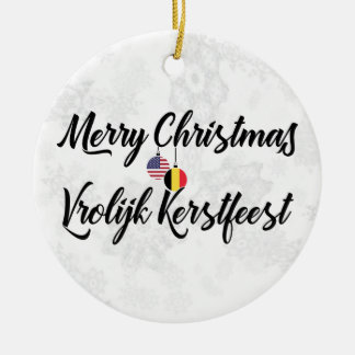 Ornement Rond En Céramique Décoration bilingue américaine belge de vacances