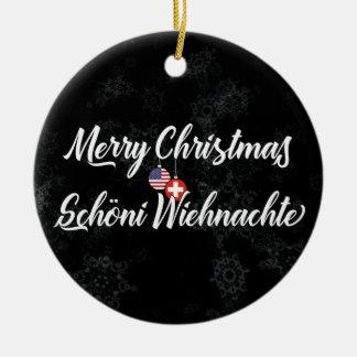 Ornement Rond En Céramique Décoration bilingue américaine suisse de vacances