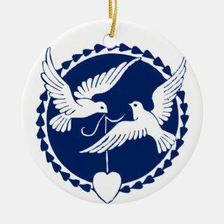 Ornement Rond En Céramique Décoration d'arbre de Noël de colombe