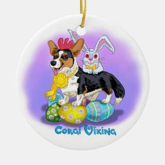 Ornement Rond En Céramique décoration de Pâques avec le corgi