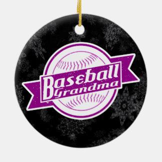 Ornement Rond En Céramique Décoration de vacances de grand-maman de base-ball