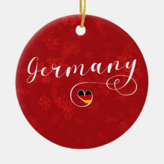 Ornement Rond En Céramique Décoration de vacances de l'Allemagne de coeur