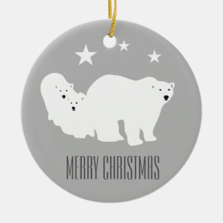 Ornement Rond En Céramique Décoration d'ornement de Joyeux Noël d'ours blancs