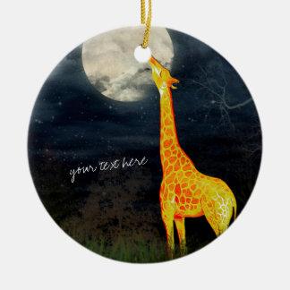 Ornement Rond En Céramique Décoration faite sur commande d'ornement de girafe
