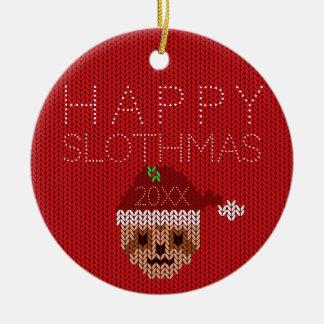 Ornement Rond En Céramique Décoration laide rouge heureuse de Noël de