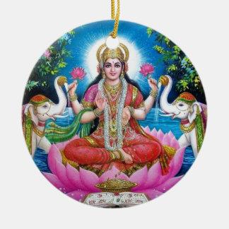 Ornement Rond En Céramique Déesse de Lakshmi de l'amour, de la prospérité, et