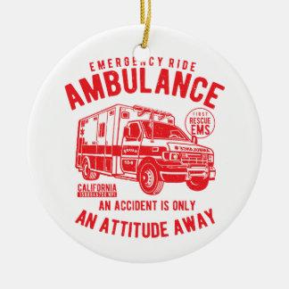 Ornement Rond En Céramique Délivrance de l'ambulance SME de tour de secours