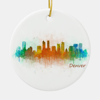 Ornement Rond En Céramique Denver Rouge Ville Watercolor Skyline Hq v3