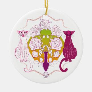 Ornement Rond En Céramique des chats roses dans le sapin