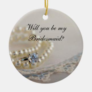 Ornement Rond En Céramique Des perles, dentelle bleue d'anneau vous serez ma
