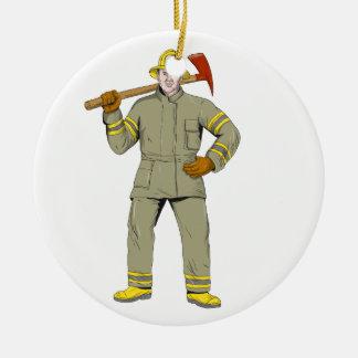 Ornement Rond En Céramique Dessin américain de hache du feu de sapeur-pompier