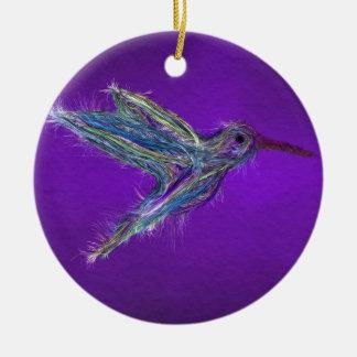 Ornement Rond En Céramique Dessin de colibri