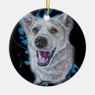 Ornement Rond En Céramique Dessin de la séance et de la peinture de chien