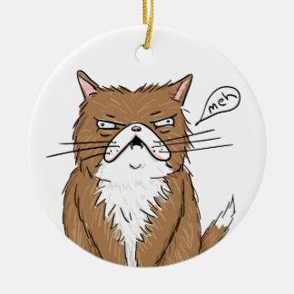 Ornement Rond En Céramique Dessin grincheux drôle de chat de Meh