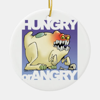 Ornement Rond En Céramique dessin humoristique, monster-hungry-OR-angry