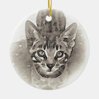 Ornement Rond En Céramique Dessin mignon de chaton du Bengale