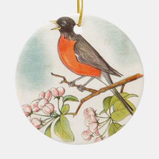 Ornement Rond En Céramique Dessin vintage de Robin