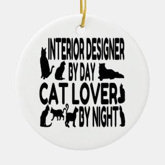 Ornement Rond En Céramique Dessinateur d'intérieurs d'amoureux des chats