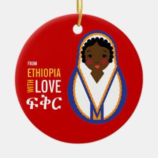 Ornement Rond En Céramique D'Ethiopie avec le souvenir d'adoption d'amour
