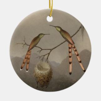 Ornement Rond En Céramique Deux colibris avec leurs jeunes