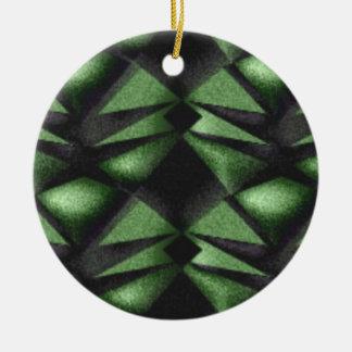 Ornement Rond En Céramique Diamant douteux de vert forêt
