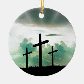 Ornement Rond En Céramique Dieu croisé Jésus de foi du Christ opacifie la