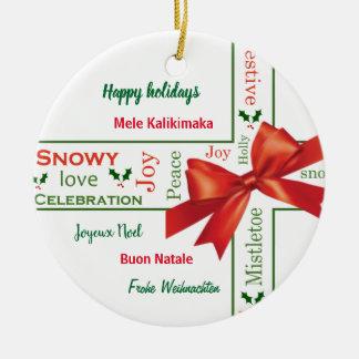Ornement Rond En Céramique Différentes langues de Joyeux Noël