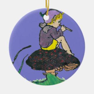 Ornement Rond En Céramique ~ d'illustration de lutin de Noël de ~ vieux