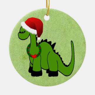 Ornement Rond En Céramique Dinosaure de Noël