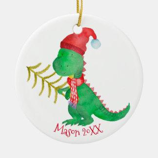 Ornement Rond En Céramique Dinosaure de Noël d'aquarelle personnalisé