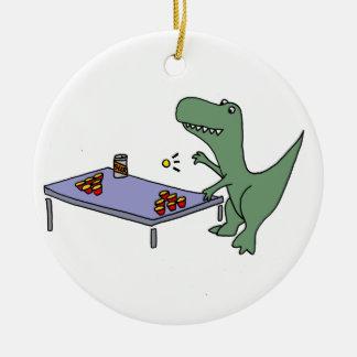 Ornement Rond En Céramique Dinosaure drôle de T-Rex jouant la puanteur de