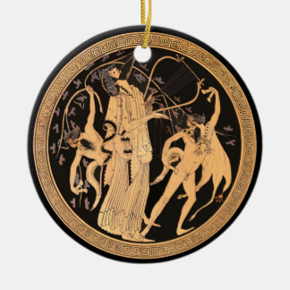 Ornement Rond En Céramique Dionysus et les satyres