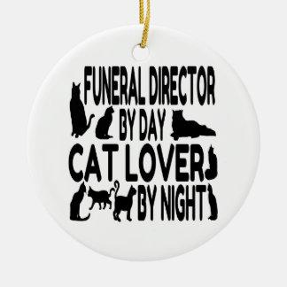 Ornement Rond En Céramique Directeur des pompes funèbres d'amoureux des chats