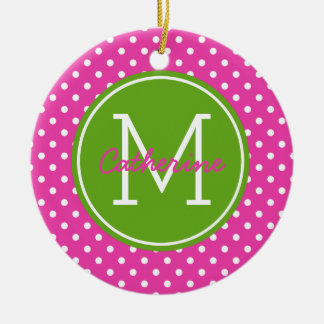 Ornement Rond En Céramique Diva Apple vert rose et monogramme blanc de point