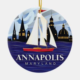 Ornement Rond En Céramique DM rouge d'Annapolis de voilier côtière
