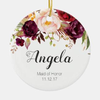 Ornement Rond En Céramique Domestique florale d'ornement de Noël d'honneur