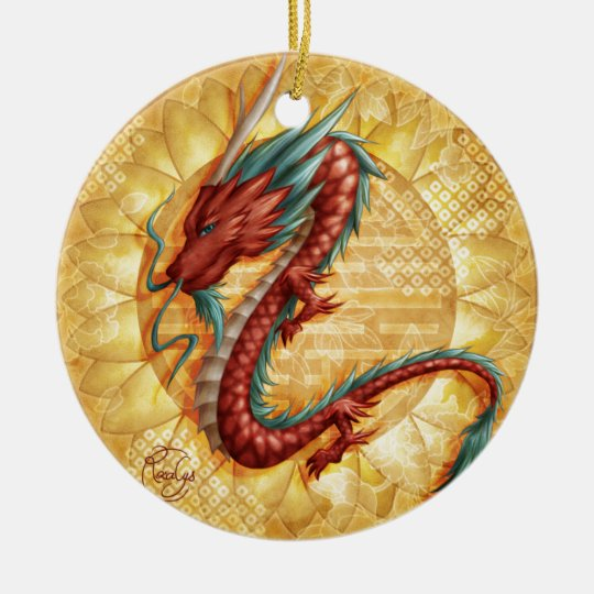 Ornement Rond En Céramique Dragon