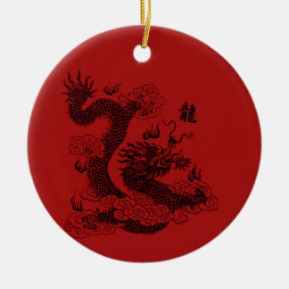 Ornement Rond En Céramique Dragon chinois