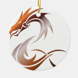 Ornement Rond En Céramique Dragon métallique orange