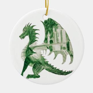 Ornement Rond En Céramique Dragon vert