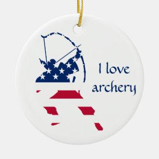 Ornement Rond En Céramique Drapeau américain d'archer de tir à l'arc des