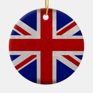 Ornement Rond En Céramique Drapeau Anglais d'Angleterre texturé